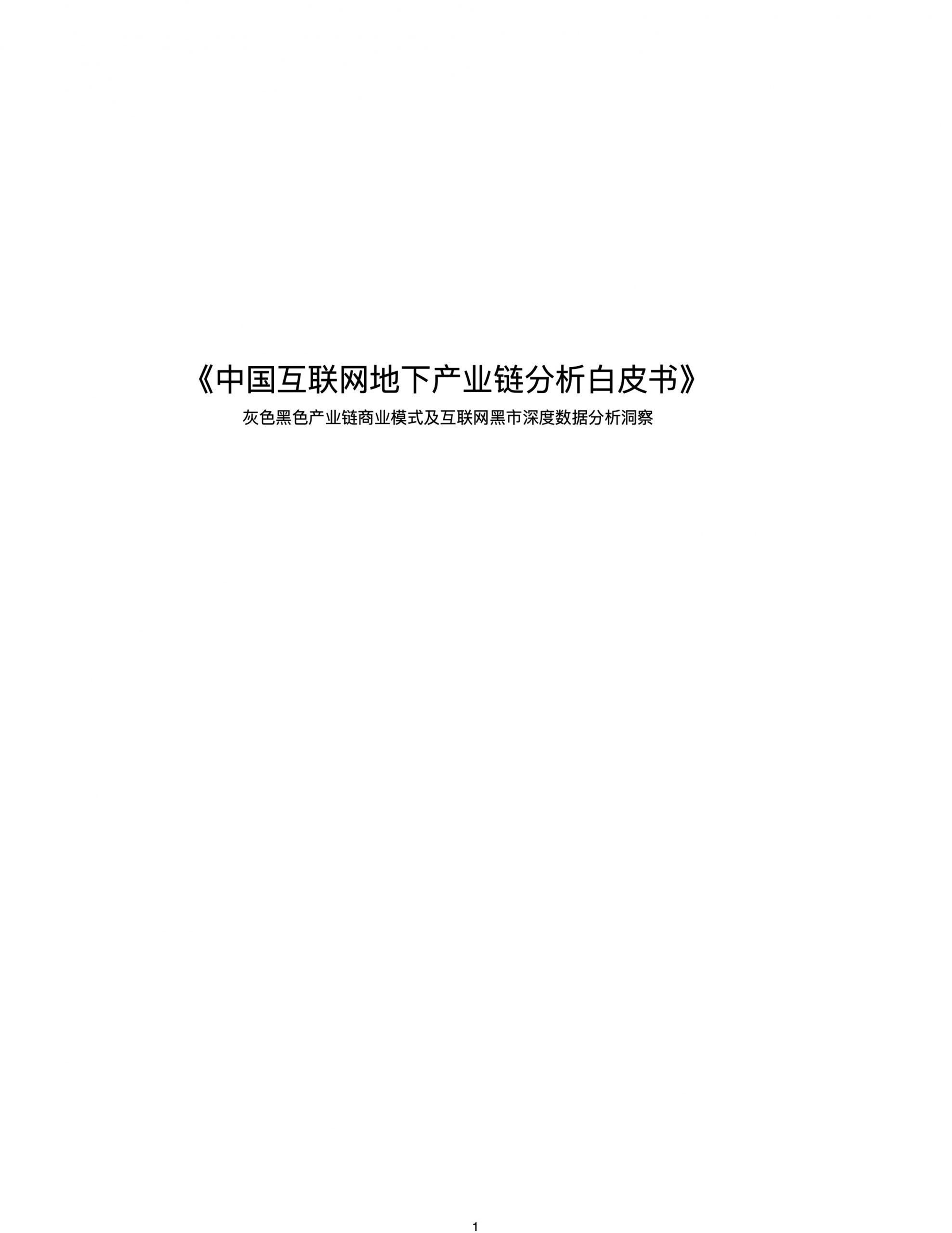 中国互联网地下产业链分析白皮书